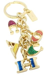Coach Gold Multi-Colored Keychain NWT